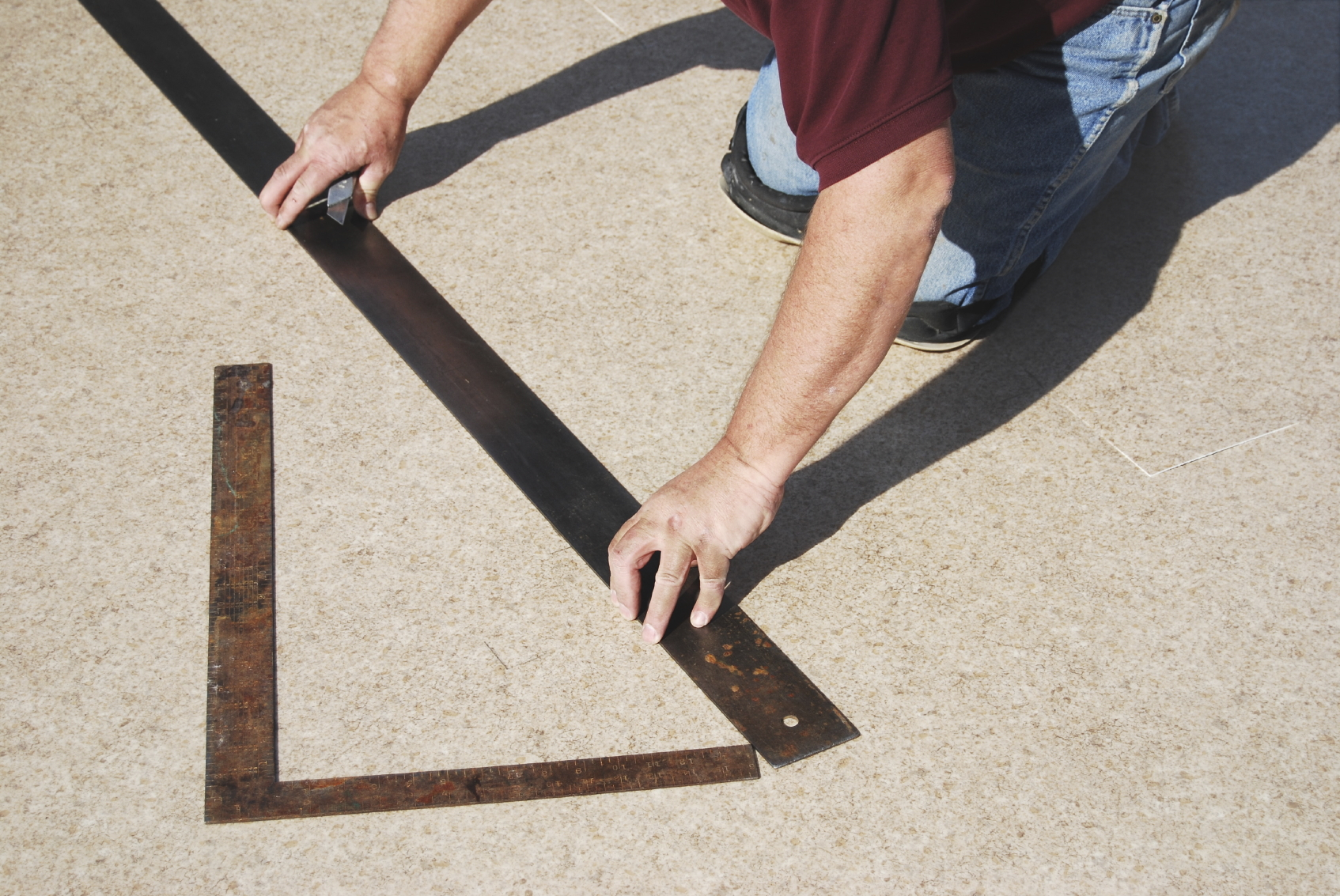 Measuring carpet for insert installation